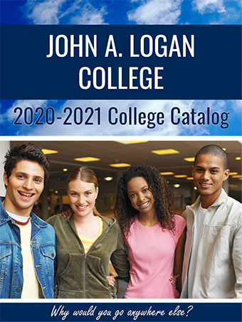 John A. Logan College 2020-2021 College Catalog with image of four students grouped together