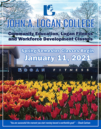 Brochure Cover for Community Education, Logan Fitness and Workforce Development - Spring 2021 Semester