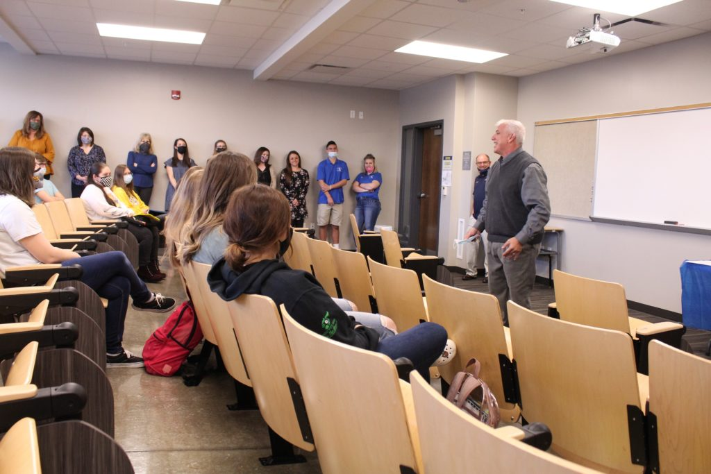 Tim Williams speaking to students