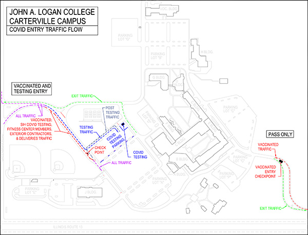 Map of COVID entry traffic flow for John A. Logan College Carterville Campus